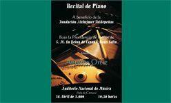 'Recital de piano a beneficio de la fundación alzheimer valdepeñas', auditorio nacional de música, Madrid