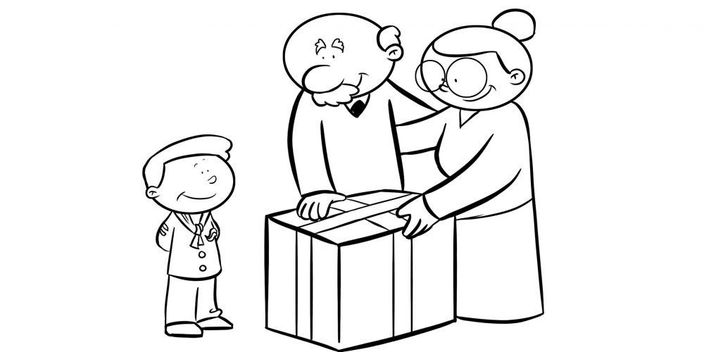 Colorear abuelos haciendo un regalo a su nieto