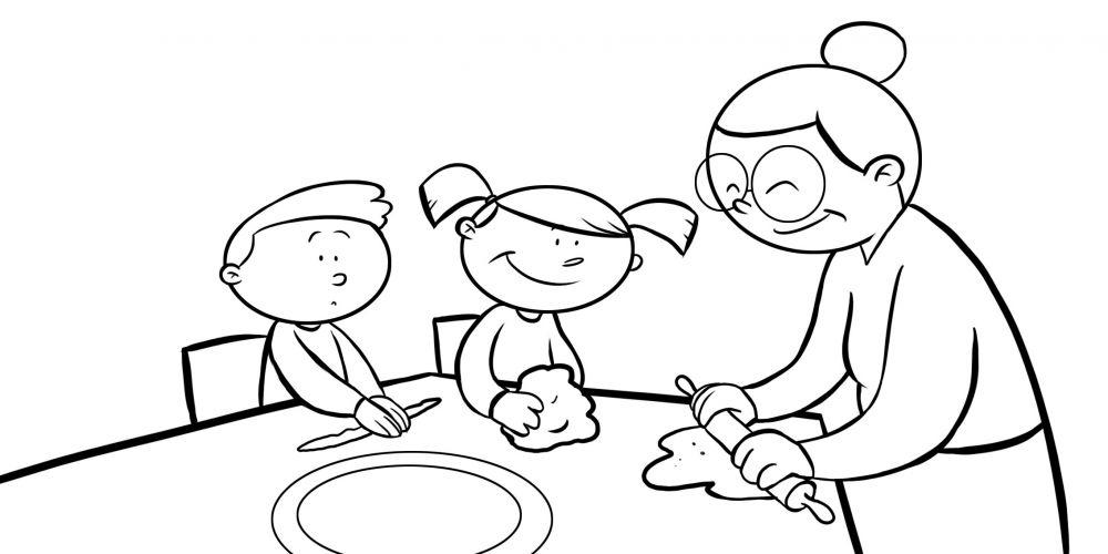 Colorear nietos cocinado con su abuela