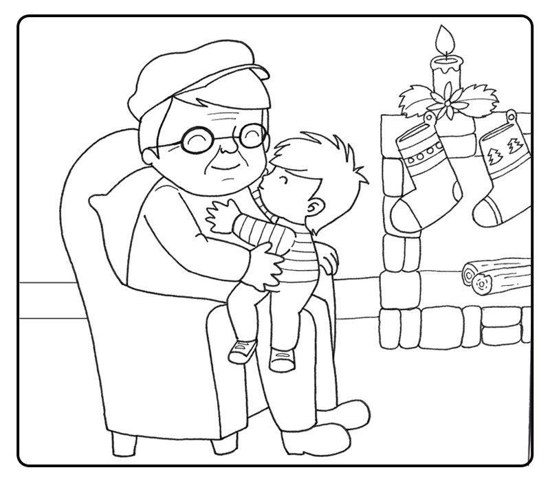 Colorear niño besando a su abuelo en navidad