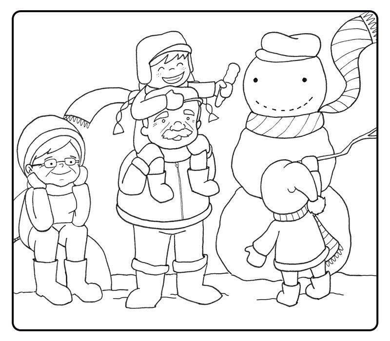 Colorear abuelos haciendo un muñeco de nieve con sus nietos