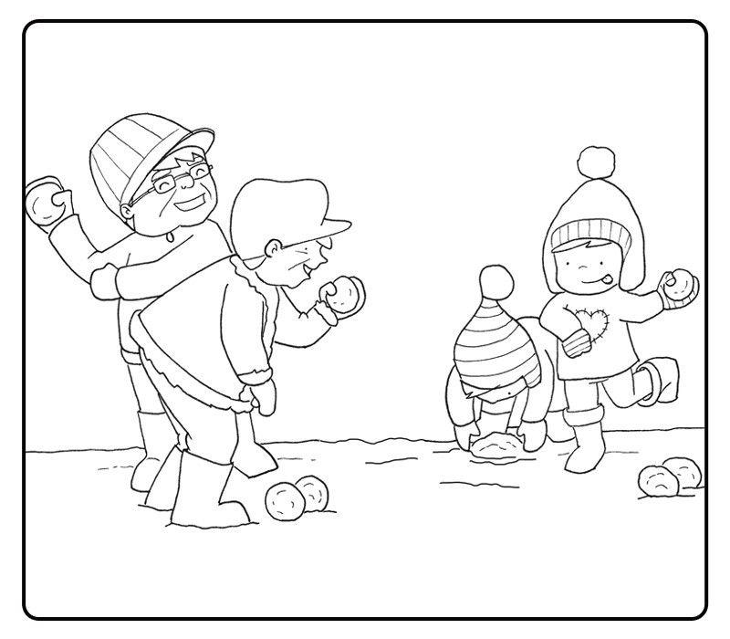Colorear abuelos jugando en la nieve con sus nietos