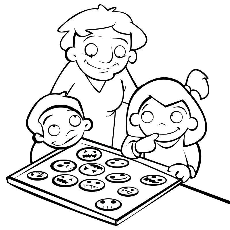 Imprimir: Colorear niños haciendo galletas de halloween con su abuela