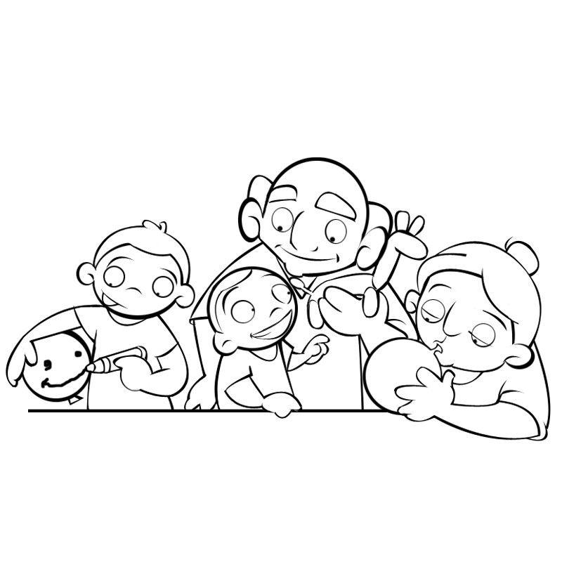 Colorear abuelos y nietos jugando con globos