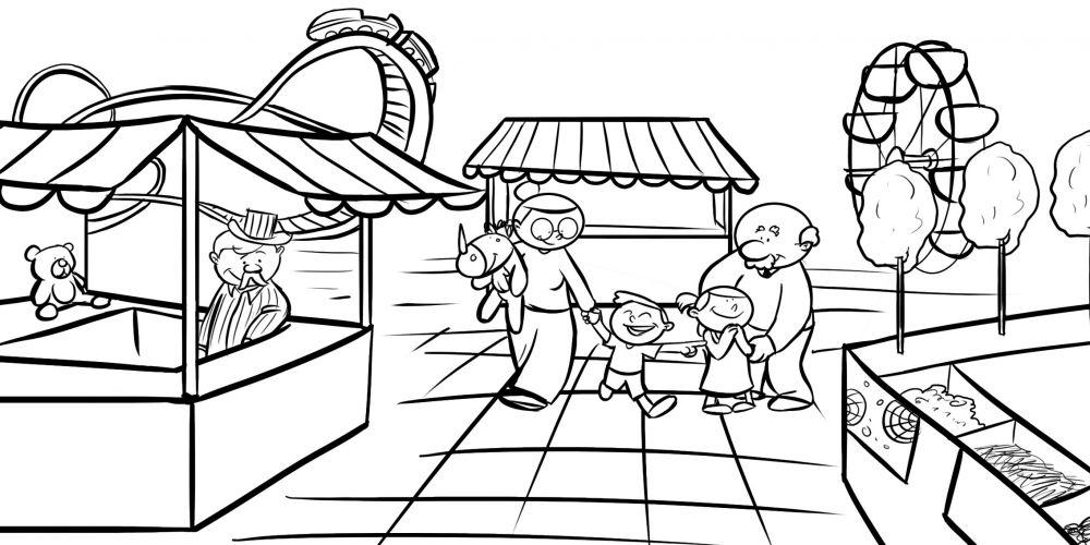 Colorear abuelos en la feria con sus nietos