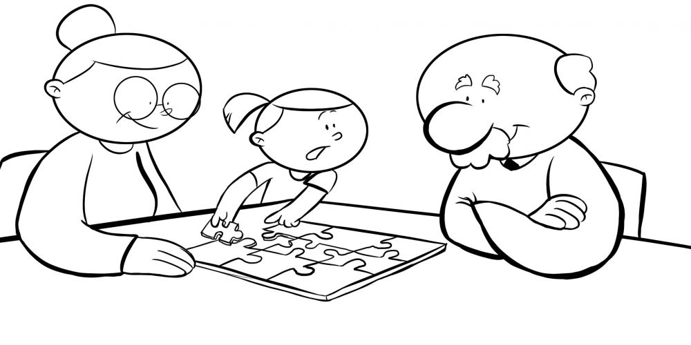 Colorear abuelos haciendo un puzzle con su nieta