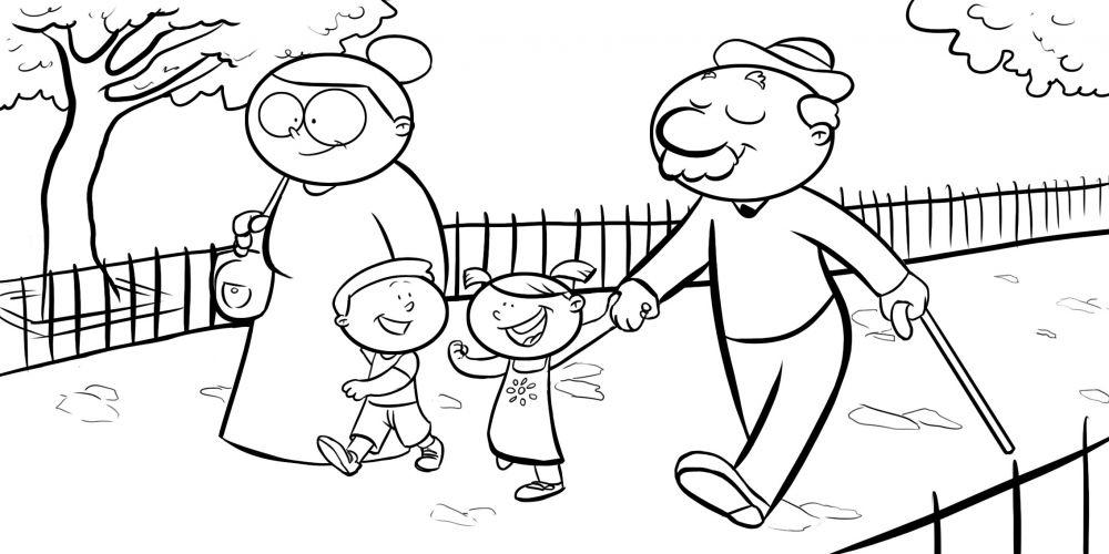 Imagen De Niño Leyendo Para Colorear: Colorear Abuelos Dando Un Paseo Con Sus Nietos