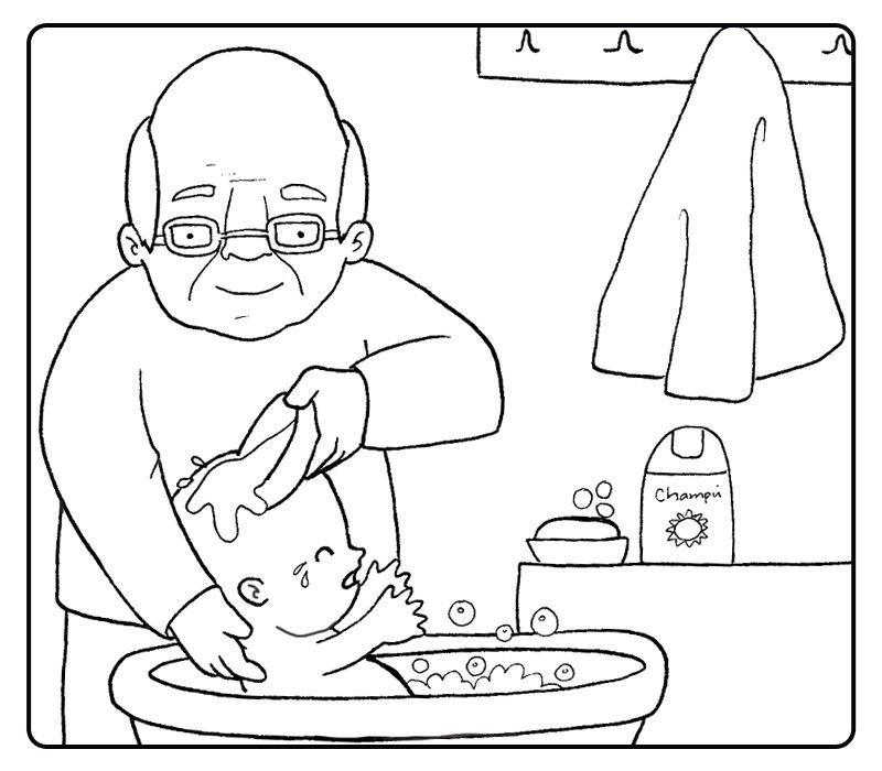 Colorear abuelo bañando a su nieto