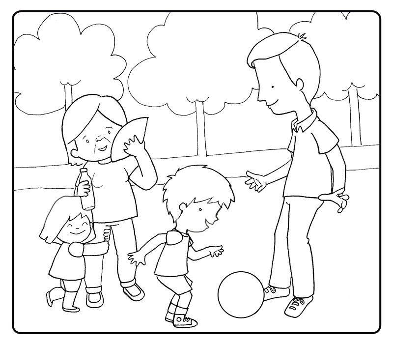 Colorear abuelos jugando al futbol con sus nietos