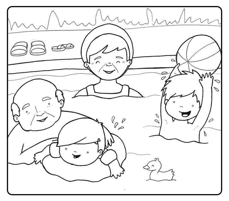 Colorear abuelos jugando en la piscina con sus nietos