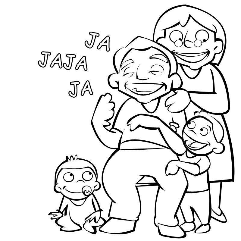 Colorear abuelos riendo a carcajadas con sus nietos