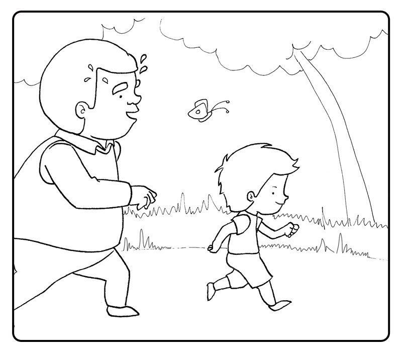 Colorear abuelo paseando por el campo con su nieto