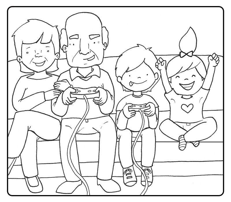 Colorear abuelos jugando a la videoconsola con sus nietos