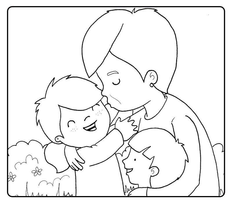 Colorear abuela besando a sus nietos