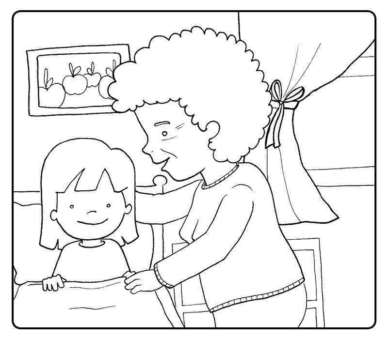 Colorear abuela acostando a su nieta
