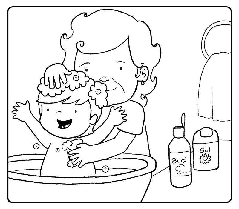 Colorear abuela bañando a su nieta