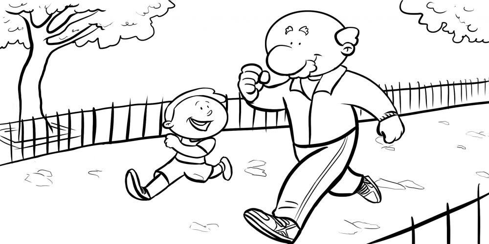 Colorea abuelo echando una carrera a su nieto