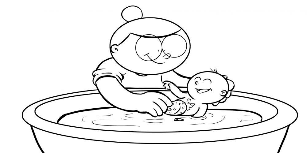Colorea abuela bañando a su nieta