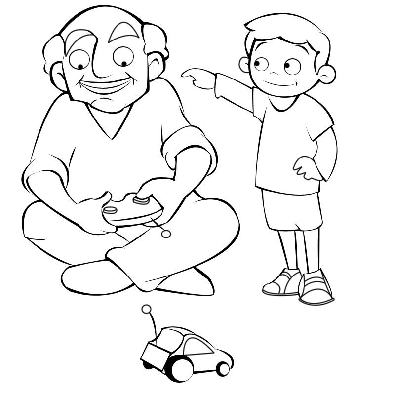Colorea abuelo jugando al coche teledirigido con su nieto