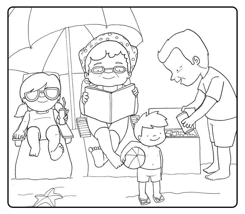 Colorea a unos abuelos con sus nietos en la playa