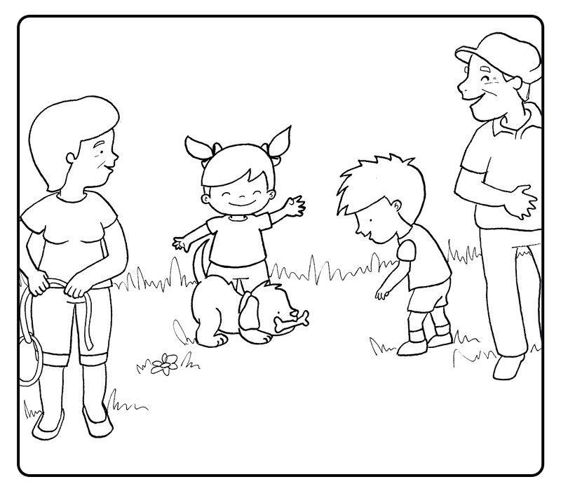 Colorea abuelos y sus nietos jugando con un cachorro de perro