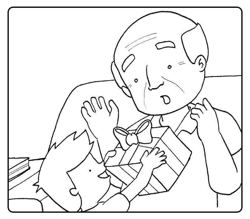 Colorea un niño dando un regalo a su abuelo