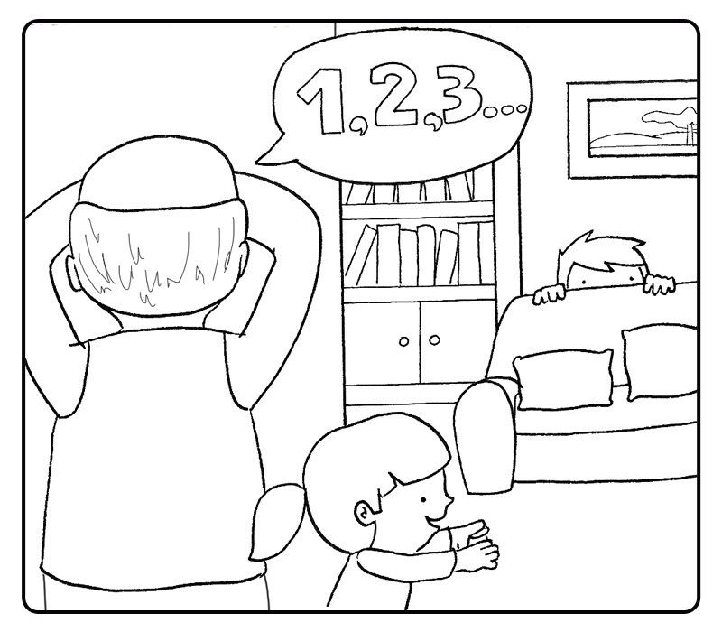 Colorea a un niño jugando al escondite con su abuelo