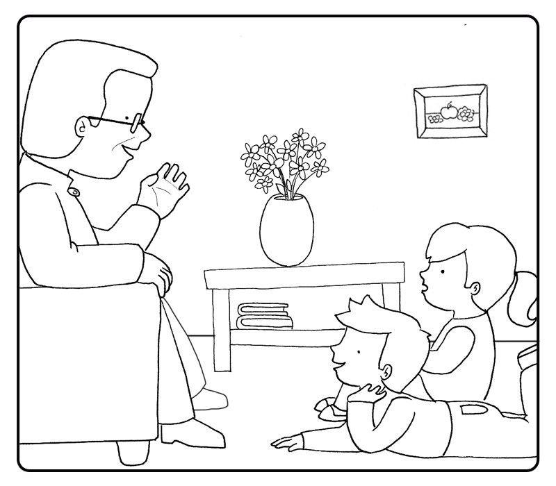 Colorea un abuelo contando un cuento a sus nietos
