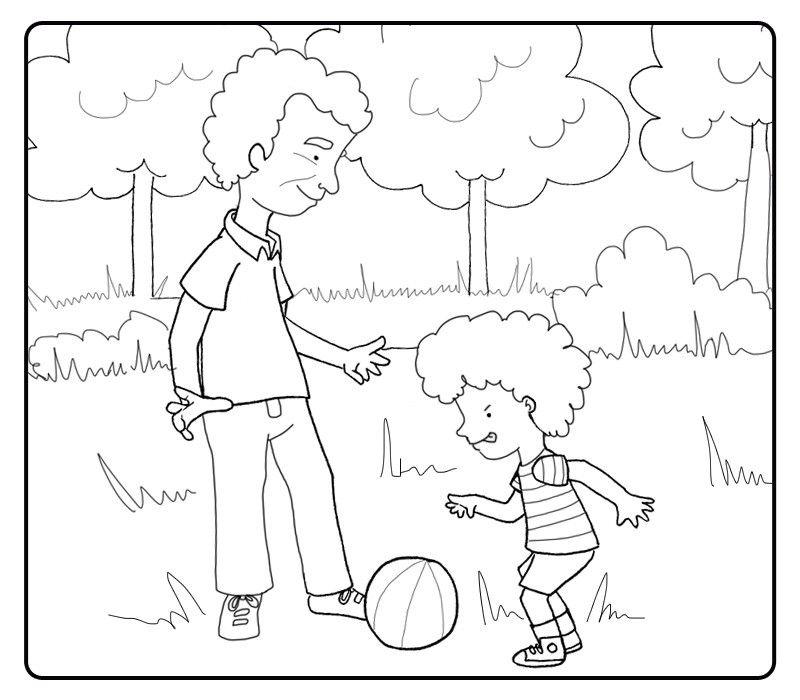 Colorea a un niño jugando al fútbol con su abuelo