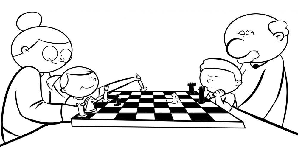 Colorea abuelos jugando al ajedrez con sus nietos