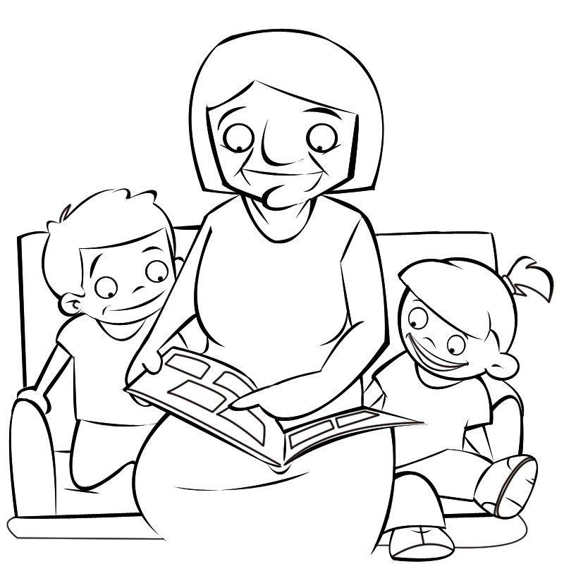 Colorea a una abuela enseñando fotos a sus nietos