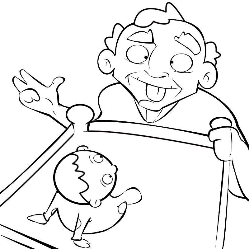 Colorea abuelo sacándole la lengua a su nieta