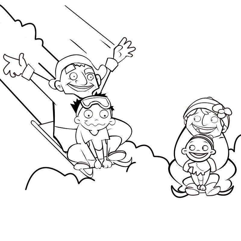Colorea abuelos jugando con sus nietos en trineo en la nieve