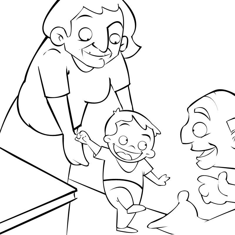 Colorea abuelos enseñando a andar a su nieto
