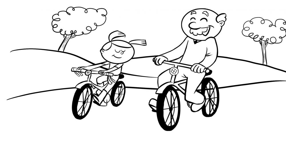 Colorea abuelo con su nieta montando en bici por el campo