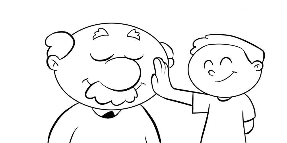 Colorea a un niño acariendo la cara de su abuelo