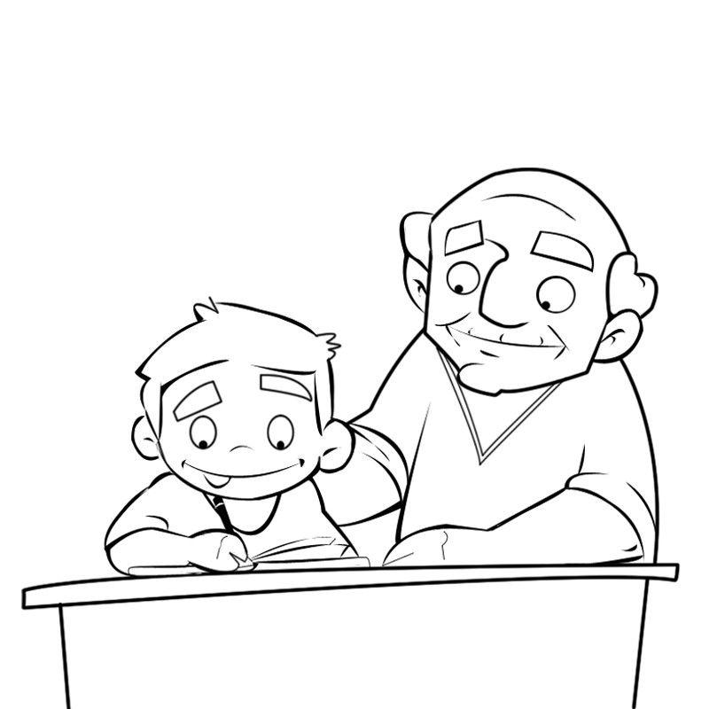 Colorear a un abuelo enseñando a escribir a su nieto