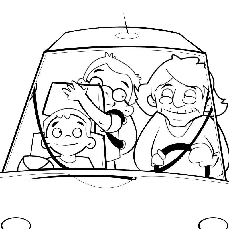 Colorear abuela llevando a sus nietos en coche al cole