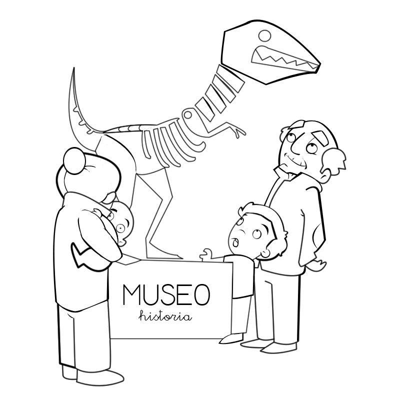 Colorear abuelos en el museo con sus nietos