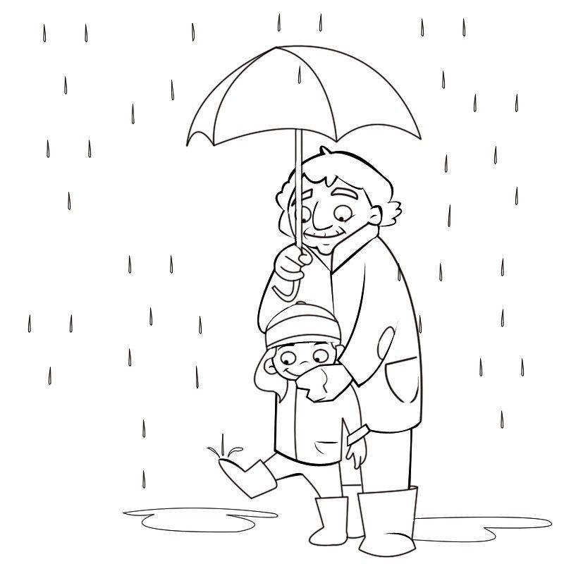 Imprimir: Colorea abuela acogiendo a su nieta bajo el paraguas