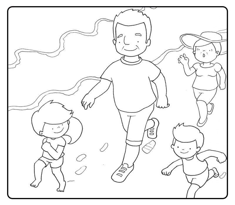 Colorear abuelos corriendo por la playa con sus nietos