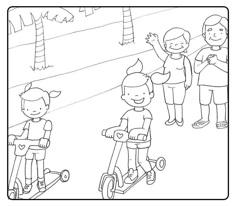 Colorea nietos jugando en patinete con sus abuelos