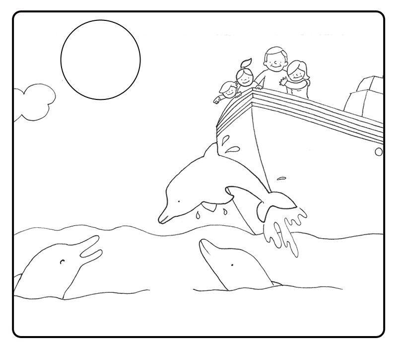 Colorea abuelos viendo los delfines con sus nietos