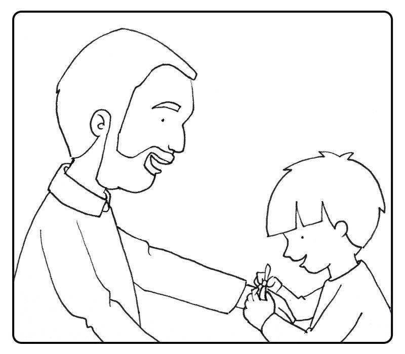 Colorea a un niño poniendo una pulsera a su abuelo