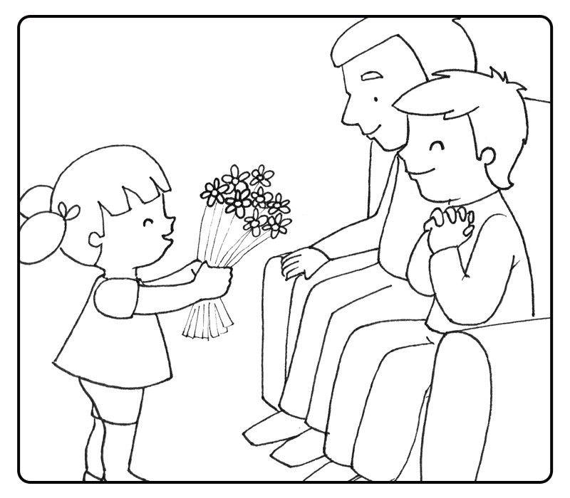 Colorea nieto regalando flores a sus abuelos