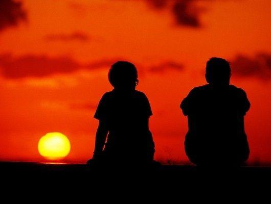 Viendo una puesta de sol