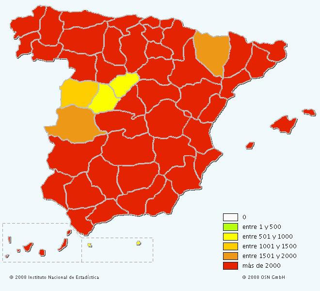 Mapa del apellido Martínez