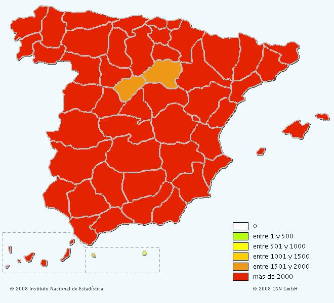 Mapa del apellido Pérez