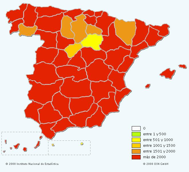Mapa del apellido Sánchez