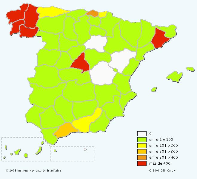 Mapa del apellido Taboada